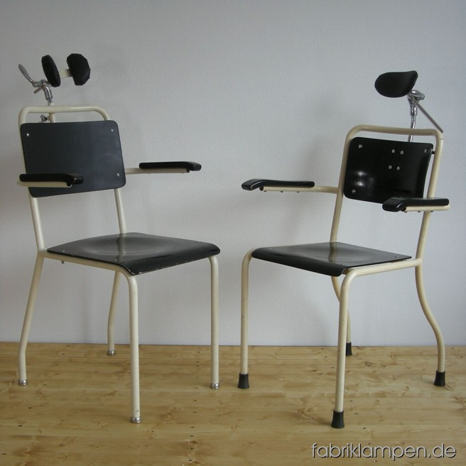 Antique Bauhaus dentist chairs from about 1930-1940 with traces of use and age.
