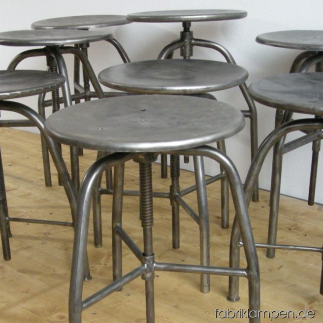 Industrial stools in restored nice condition. They are hand-cleaned and waxed. Diameter sits ca. 35 cm, sitting height between 47 and 79 cm (2 various types).