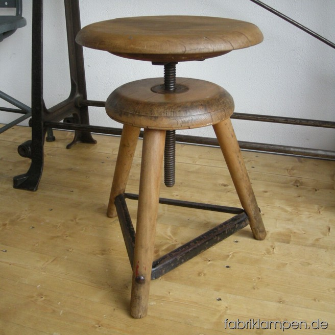 Rare old industrial stool from a former goldsmith atelier. Nice condition with patina, waxed.