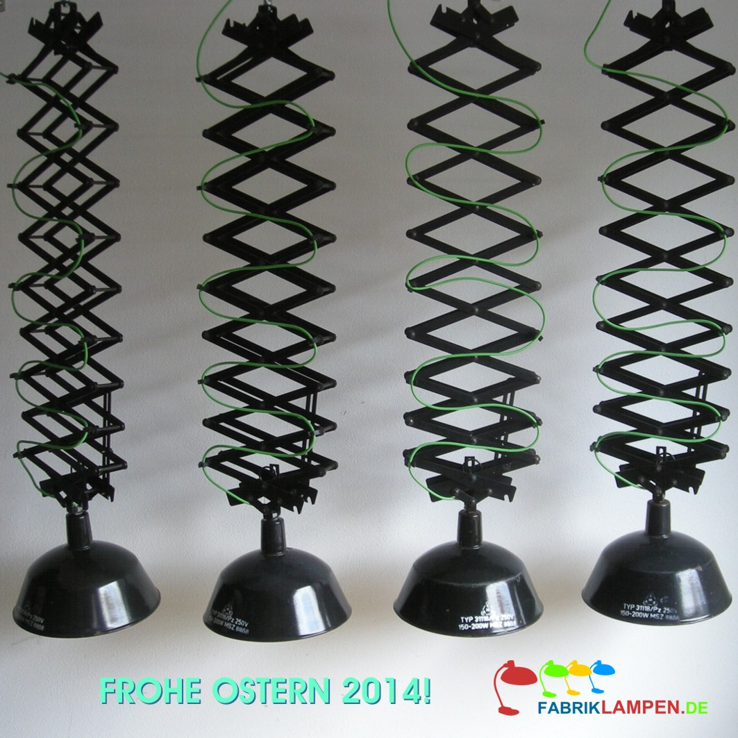 We wished happy Easter 2014 our visitors with these old scissor lamps mounted with green textile cord.