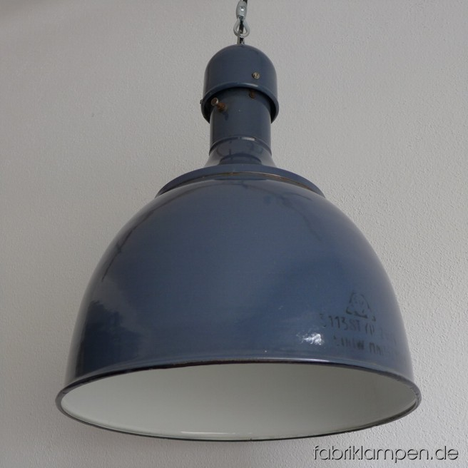 Graceful blue industrial lamp. Material: blue (some grayish) enameled sheet. Newly electrified, with wire-rope suspension. Height of the lamp is ca. 46 cm (18,1 inches), diameter of the shade is ca. 36 cm (14,2 inches).