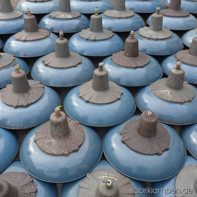 Nice blue enamel lamps with casted iron domes after arriving – currently we have about 40 pieces of this type in blue on stock.