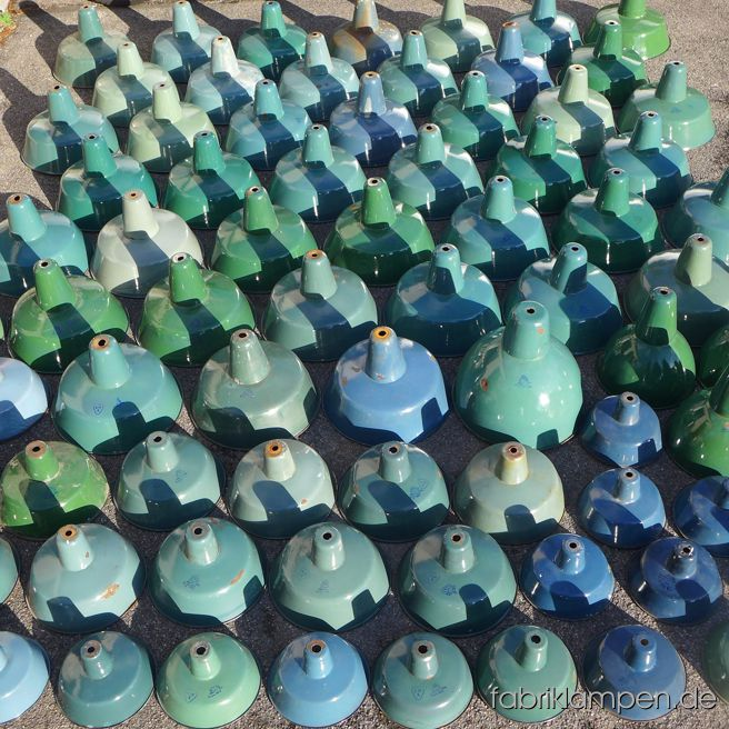 Nice collection of old green and blue enamel factory lamps after arriving.