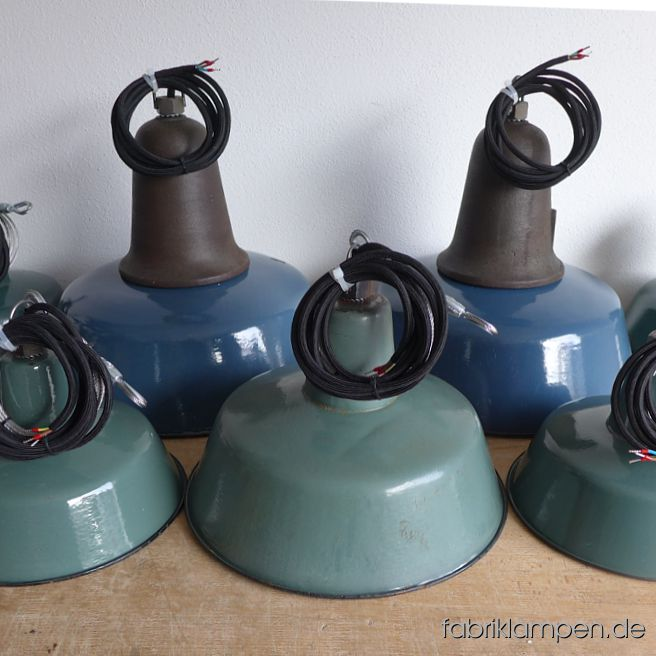 Nice group of old green and blue enamel factory lamps for a bureau in Austria.