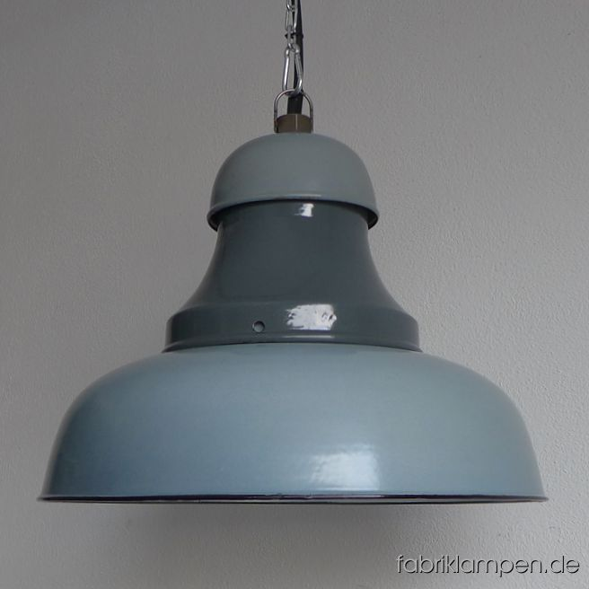 Old gray enamel factory lamp, three-piece with enamel shades in various hues of gray. Made in West-Germany. Material: gray (inside white) enameled steel sheet. Perfectly preserved, with minimal traces of age and usage. Cleaned, newly electrified, with E27 ceramic socket. Height of the lamp ca. 32 cm (12,6 inches), diameter of the shades ca. 43 cm (17 inches). The lamp will be shipped with 2 m cable and hanging eye. Chain suspension is possible for an additional charge.