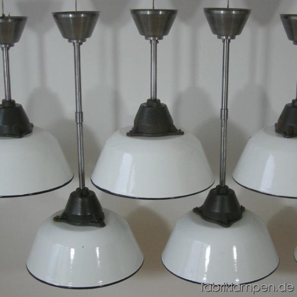 Emaille Baldachin Weiss Industrie Fabrik Lampe Leuchte Deckenabschluss Kette