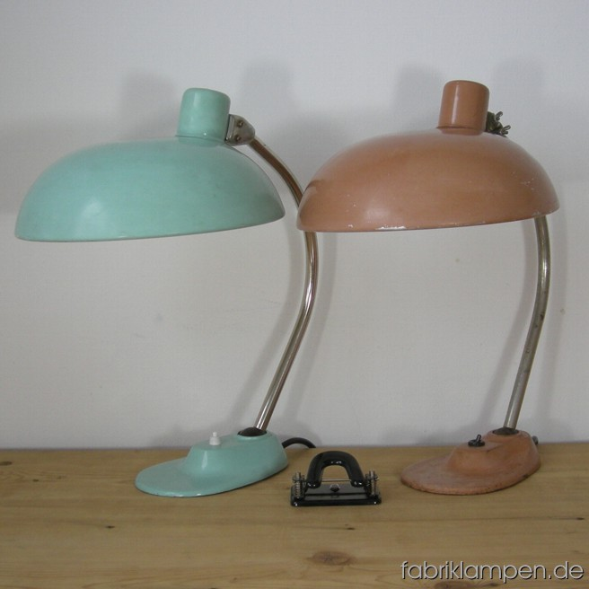 Old nice coloured desk lamps with strong traces of age and use. Height ca. 45 cm (17,7 inches), diamater shade ca. 30 cm (11,8 inches).