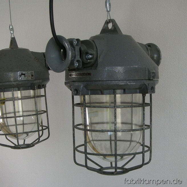 Nice industrial bunker lamps. Material: aluminium, steel, glass. The lamps are cleaned, and newly electrified, with ca. 2 m wire. Total height: ca. 38 cm (15 inches), weight ca. 8 kgs.