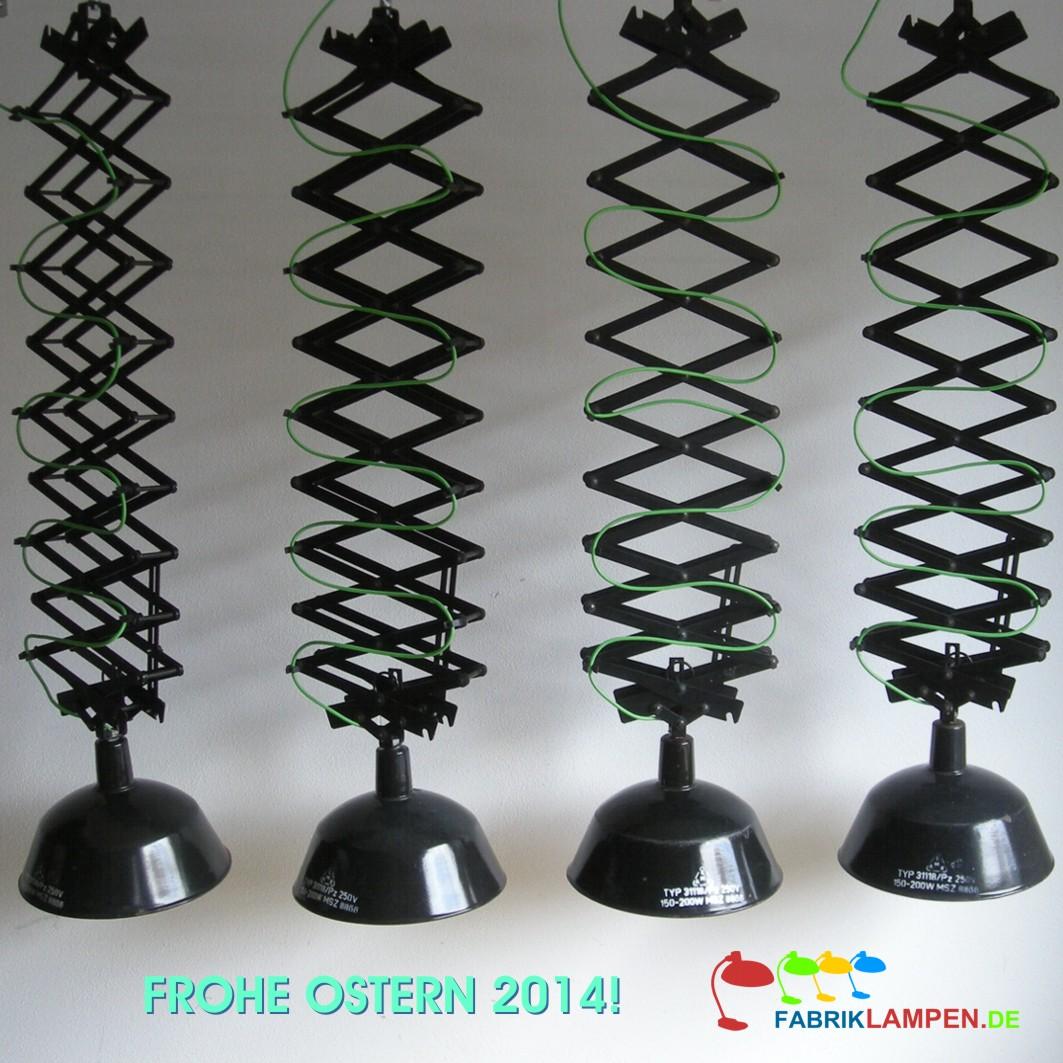 Mit diesen Scherenlampen haben wir unsere Besuchern und Kunden schöne Ostern 2014 gewünscht. Die Lampen sind für ein Bar in München mit grünem Stoffkabel ausgerüstet worden.