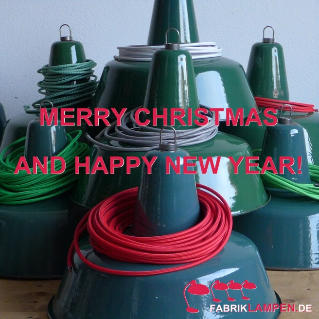 We wish our visitors Merry Christmas and Happy New Year with these old green industrial lamps.