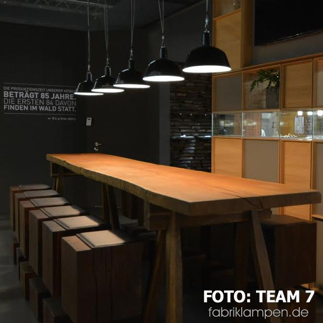 Noble furniture and old industrial lamps go well together: our lamps at the fair stands of TEAM 7 (IMM Cologne, Living Kitchen). Thank you for the pictures and kind regards to Ried!