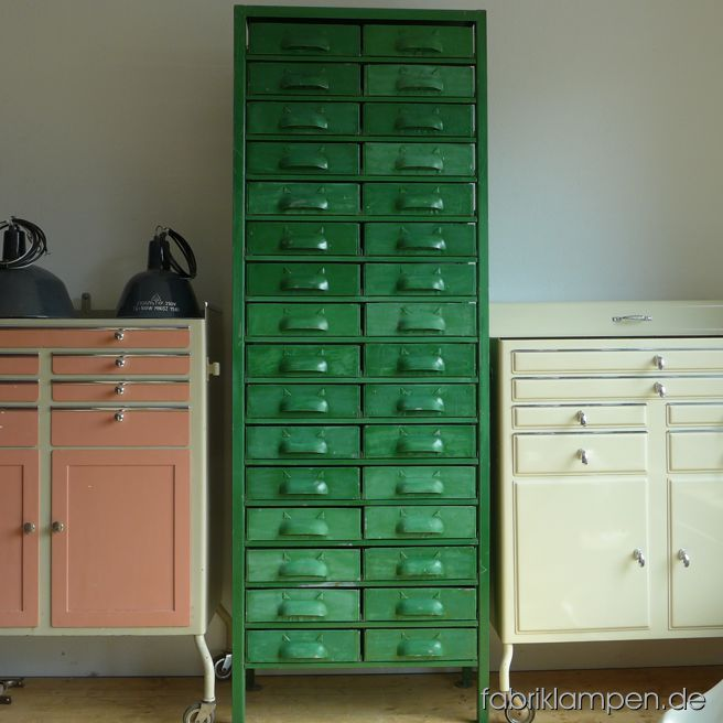 Old workshop cabinet with 36 drawers, emeraldgreen. Good original condition, nice patina. Height 186 cm (73 inches), width 67 cm (26,4 inches).