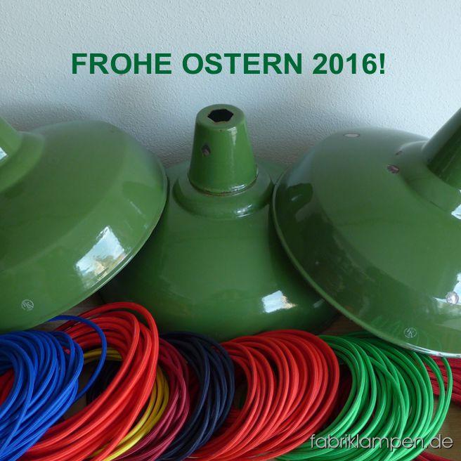 Mit diesen schönen grünen Emaillelampen aus den 1930-ern mit Herstellermarke (Karl Engel) haben wir unseren Besuchern und Kunden frohe Ostern und schöne Osterferien gewünscht.