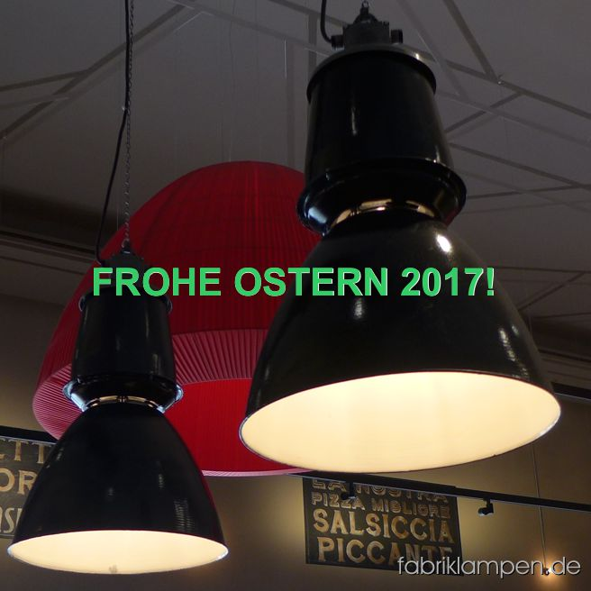 Happy Easter 2017! Our big old enamel factory lamps in a pizzeria.