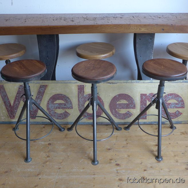 Very nice old industrial stools with oak sits. The pedestals are cleaned and conserved (please see one pedestal in original condition as found on the last photo). These old stools became new oak sits, they are waxed. The oak massive sits are 3,8 cm (1,5 inches) thick, their diameter (with steel edging) amount to 30 cm (13,8 inches). Everlasting, suitable for gastronomy or for your loft-kitchen. Sitting heights 52 and 62 cm (20,5 – 24,5 inches)