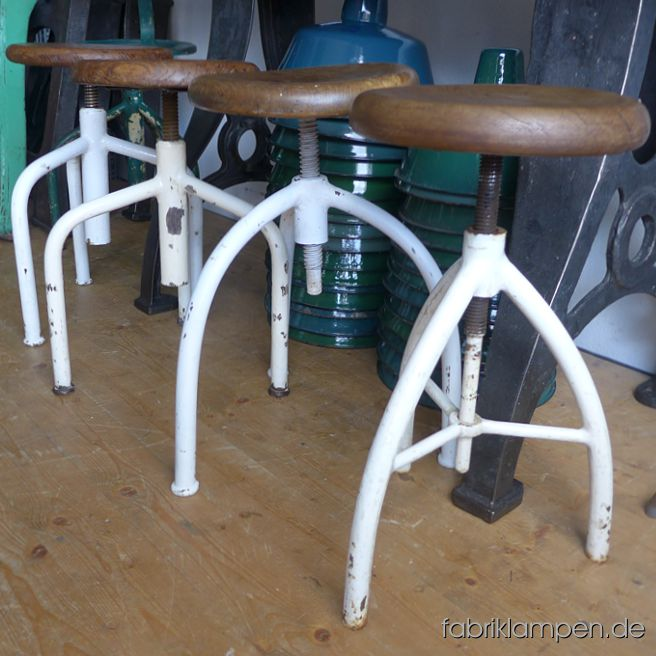 Very nice old medical stools with originally oak (partly other hartwood) sits – made of one piece of wood. The white coloured pedestals are cleaned and conserved. The old hartwood sits (sometimes with stronger traces of age and usage) are waxed. Diameter about 30 cm (11,8 inches). Everlasting, suitable for gastronomy or for your loft-kitchen. Sitting heights between 49 and 64 cm (19,3 – 25,2 inches)