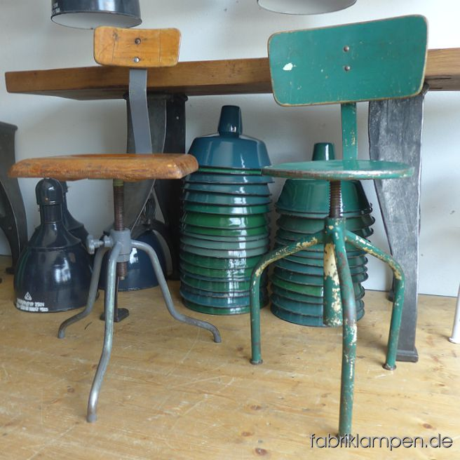 Nice old industrial chairs from about 1950-1960. The pedestals are cleaned and conserved. Everlasting, suitable for gastronomy or for your loft-kitchen. Gray chair with oak sit and backrest. Green chair with steel sit and plywood backrest.