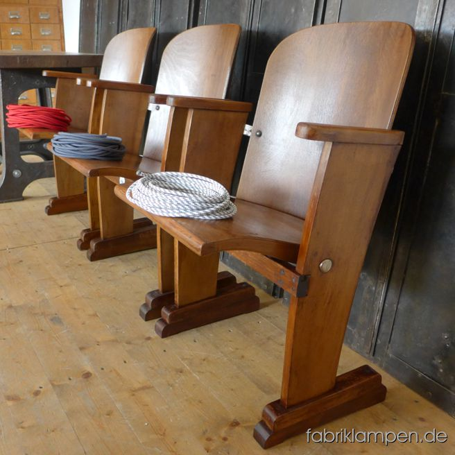 Old cinema chairs in very nice condition, made of beech and plywood. Rare single seats, individual usable. From about 1930. Width ca. 57 cm (22,4 inches), height ca. 84 cm (33 inches), sitting height 39-46 cm (15,3-18 inches). Nice patina, cleaned and conserved.