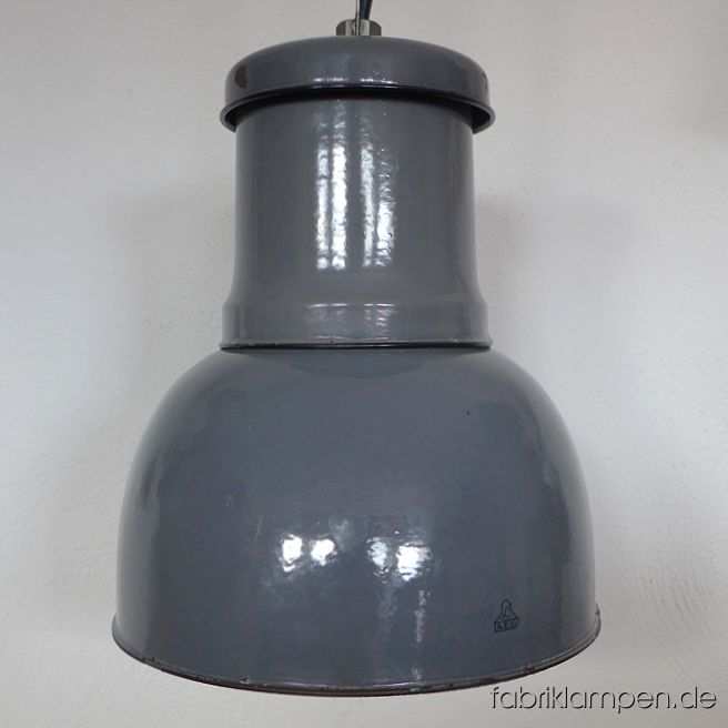 Old AEG industrial lamp in nice form, very rare. Hallmarked. This old lamp has partly strong traces of usage and age (mainly inside). Material: gray (inside white) enameled steel sheet. Newly electrified, with E27 ceramic sockets. Height of the lamp ca. 42 cm (16,5 inches), diameter of the shades ca. 31 cm (12,2 inches). The old factory lamps will be shipped with 2 m cable and suspension eye (textile cable, chain or steel tube suspension is possible for an additional charge).