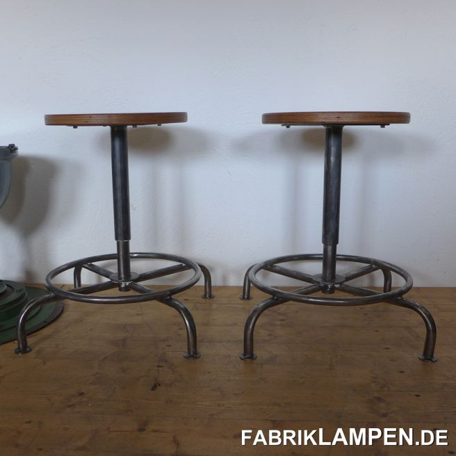 Old industrial stool with plywood sit. We have 3 pieces in stock. The pedestals are cleaned and conserved. These old chairs became new plywood sits, they are waxed. Very nice form, with big foothold. Everlasting, suitable for gastronomy or for your loft-kitchen (or as guitar stool). Sitting height between 45 and 58 cm (17,7 – 22,8 inches). Diameter sit 35 cm (13,8 inches).